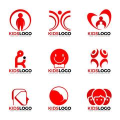 Red child kids logo sign vector set design