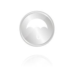 Regenschirm - Silber Münze mit Reflektion