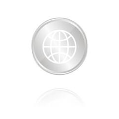 Internet-Symbol - Silber Münze mit Reflektion