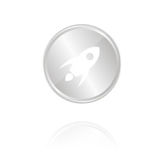 Rakete - Silber Münze mit Reflektion