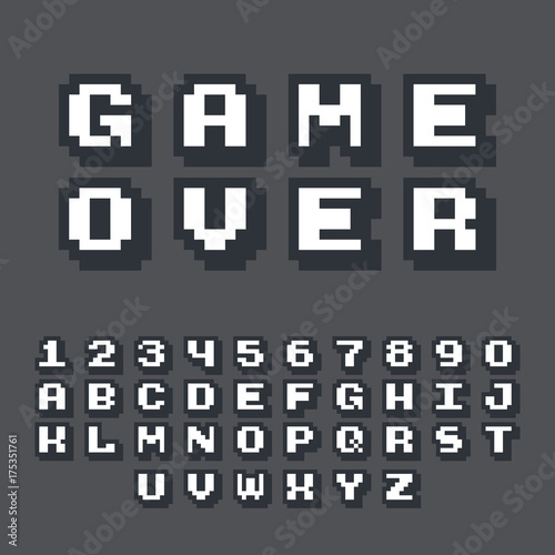 """3d Pixel Video Game 8 Bit Font. Poster Typeface With"