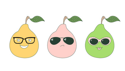 Set of hand drawn cute funny stickers with pink, orange and green pears wearing different glasses.