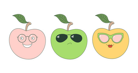 Set of hand drawn cute funny stickers with pink, orange and green apples wearing different glasses.