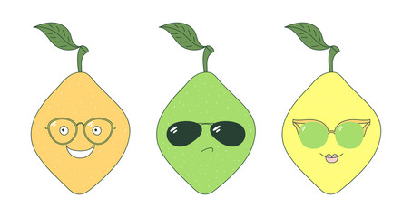 Set of hand drawn cute funny stickers with yellow, orange and green lemons wearing different glasses.