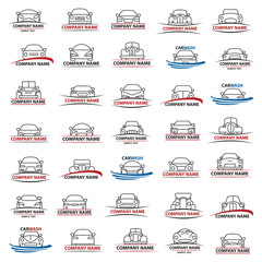 set of abstract cars illustrations