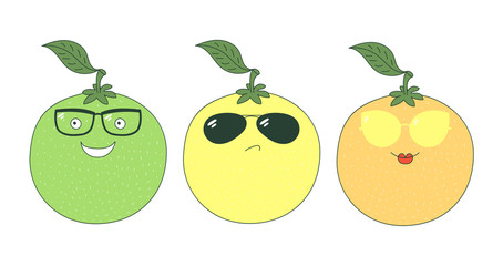 Set of hand drawn cute funny stickers with yellow, orange and green grapefruits wearing different glasses.