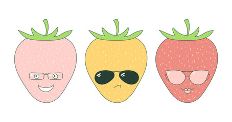 Set of hand drawn cute funny stickers with pink, orange and red strawberries wearing different glasses.