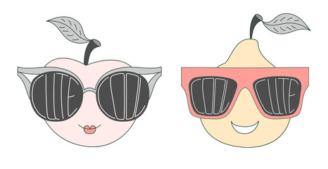 Hand drawn vector illustration of a funny pear and apple in big sunglasses with words Cute and Cool written inside them.