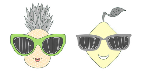 Hand drawn vector illustration of a funny pineapple and lemon in big sunglasses with words Cute and Cool written inside them.