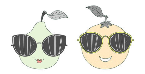 Hand drawn vector illustration of a funny pear and orange in big sunglasses with words Cute and Cool written inside them.