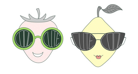 Hand drawn vector illustration of a funny lemon and strawberry in big sunglasses with words Cute and Cool written inside them.