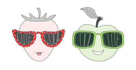Hand drawn vector illustration of a funny strawberry and apple in big sunglasses with words Cute and Cool written inside them.