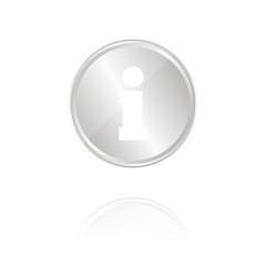 Informationssymbol - Silber Münze mit Reflektion