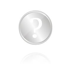 Fragezeichen - Silber Münze mit Reflektion
