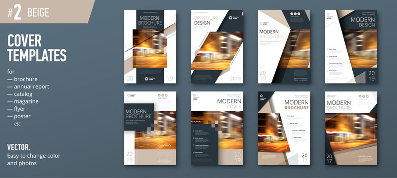Set of business cover design template for brochure, report, catalog, magazine or booklet. Creative vector background concept. Beige