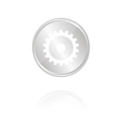 Einstellungen - Silber Münze mit Reflektion