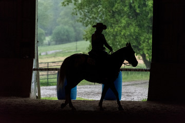 silhouette of cowgirl riding horse