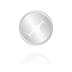 Drohne - Silber Münze mit Reflektion