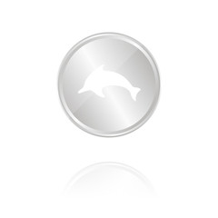 Delfin - Silber Münze mit Reflektion