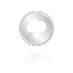 Cloud-Herunterladen-Symbol - Silber Münze mit Reflektion