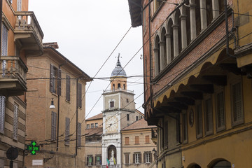 The Clock Tower of the Town Hall of Modena, Italy