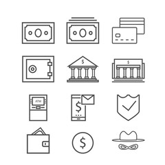 bank web line icon set. Contains such Icons as Wallet, ATM,bank,burglar,safe and more.