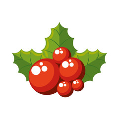 leafs with berry christmas decoration icon