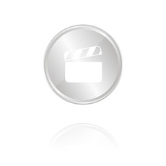 Filmklappe - Silber Münze mit Reflektion