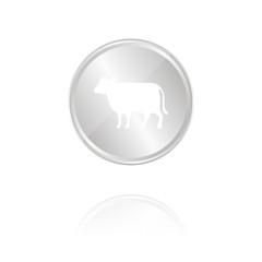 Rind - Silber Münze mit Reflektion