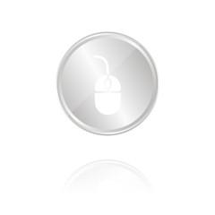 Computermaus - Silber Münze mit Reflektion