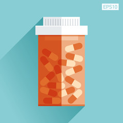 Jar with medicine. Medical icon in flat style, orange pill bottle on color background. Vector design element