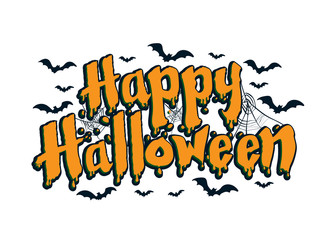 sg171004-Lettering of Happy Halloween with spider and web - Vector Illustration