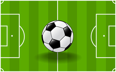 sg171004-Soccer ball with soccer field background-Vector Illustration