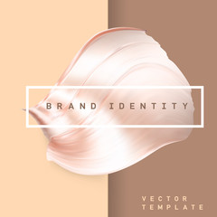 Pastel brown color metallic twisted smear. Glossy gradient futuristic shape. Shiny bent foil creative banner. Eps10 vector.