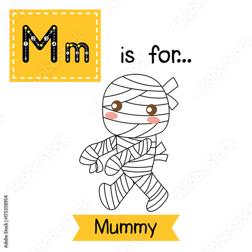 Cute Children ABC Alphabet M Letter Tracing Flashcard Of Walking Mummy For Kids Learning English Vocabulary