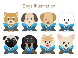 犬のイラストセット(お正月Ver)