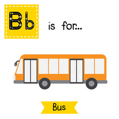 Letter B cute children colorful transportations ABC alphabet tracing flashcard of Bus for kids learning English vocabulary Vector Illustration.