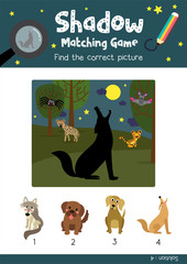 Shadow matching game by finding the correct picture of Howling Coyote animals for preschool kids activity worksheet colorful printable version layout in A4 vector illustration.