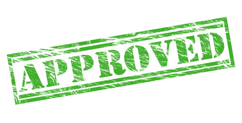 approved green stamp on white background