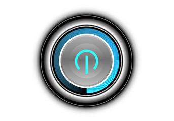 Metal button power blue light technology symbol on white background design modern futuristic vector illustration.