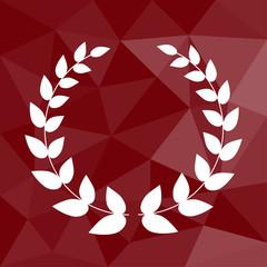 Lorbeerkranz - Icon mit geometrischem Hintergrund rot