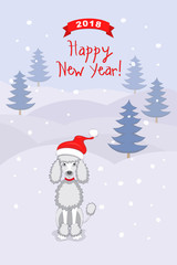 New year 2018 card with  poodle dog