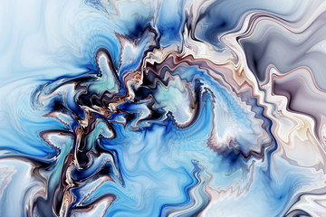 Abstract marble texture. Fantasy fractal background in blue, grey and black colors. Digital art. 3D rendering.
