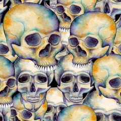 Seamless Pattern of Human Skulls on Dark Background