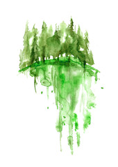 Watercolor green landscape, trees, spruce, pine, cedar. Forest landscape, reflection of trees in a river, lake. Vintage drawing on white isolated background. Logo, picture of handmade.
