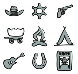 Wild West Icons Freehand 2 Color