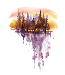 Watercolor purple landscape on an orange sunset sky, trees, spruce, pine, cedar. Forest landscape, reflection of trees in a river, lake. Vintage drawing on white isolated background.