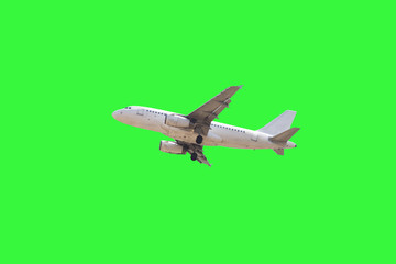 Airplane isolate on green background