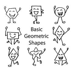 Basic Geometric Shapes with Cute  Cartoon  Face