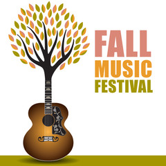 Fall music festival art with a guitar tree background